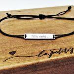 Bratara pe snur Tablita personalizata - Argint - La Petite Jupe