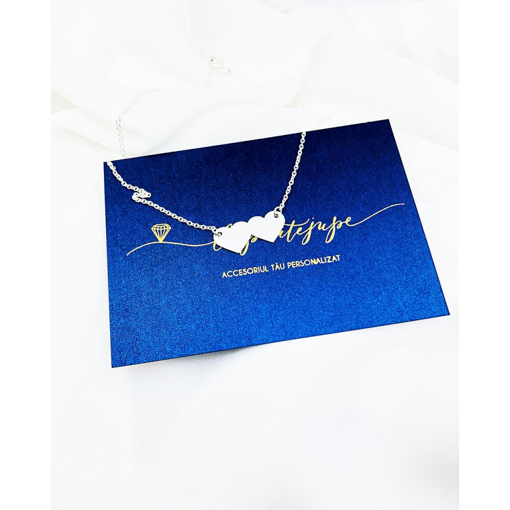 Colier personalizat Doua inimi - Argint